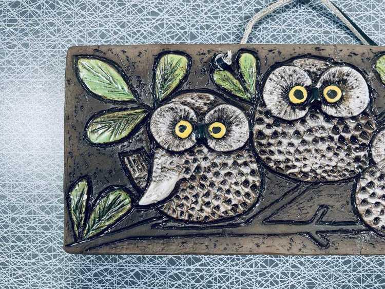 Keramiktavla, 3st ugglor - Ninnie Forsgren