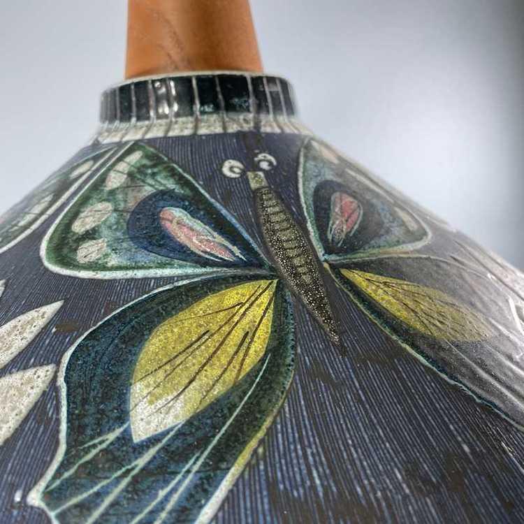 Taklampa keramik och teak Tilgmans Keramik  närbild mönster