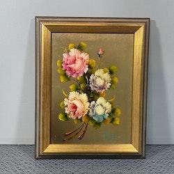 Tavla, blommor, förgylld ram