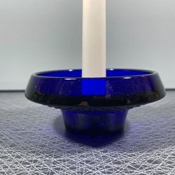 Ljusstake blått glas - Gullaskruf