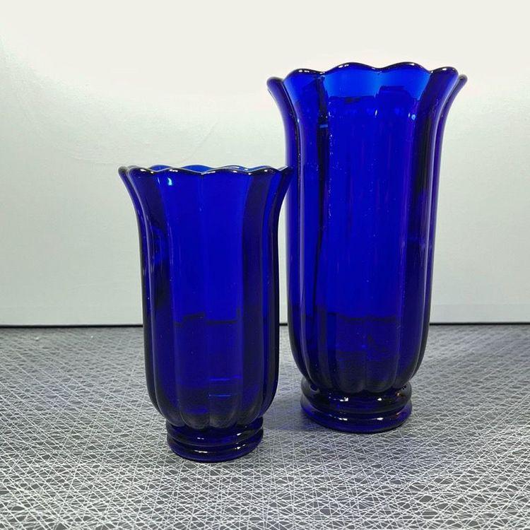 Blå glasvas - liten