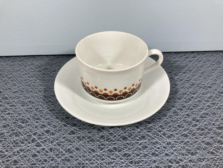 Kaffekopp med fat, vit/brun - Porslin