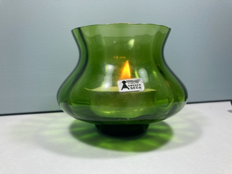 Ljuslykta / vas (grön), Bo Borgström - Åseda Glasbruk