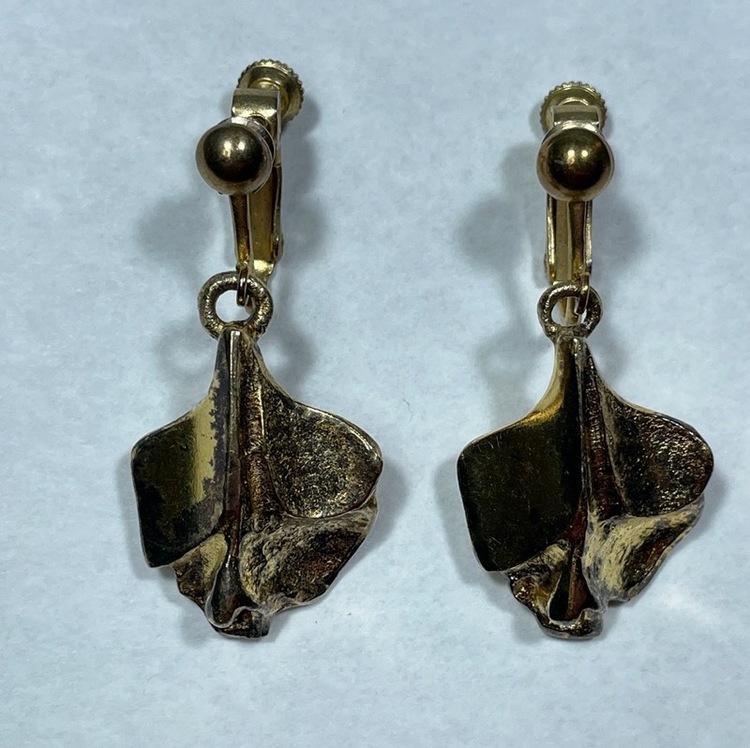 Vintage örhängen, förgyllda - Börje Tennung par närbild