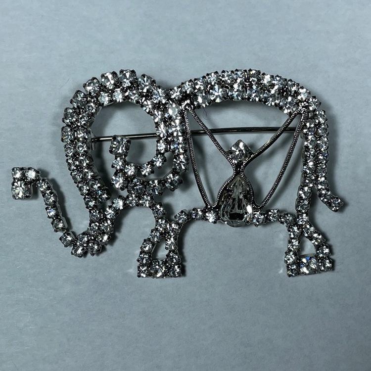 Elefantbrosch, vintage - glasstenar