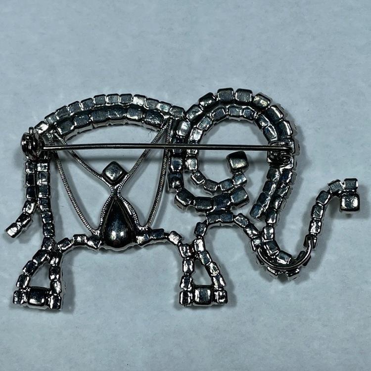 Elefantbrosch, vintage - glasstenar baksida