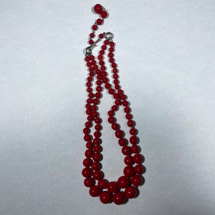 Vintage halsband, röda glaskulor
