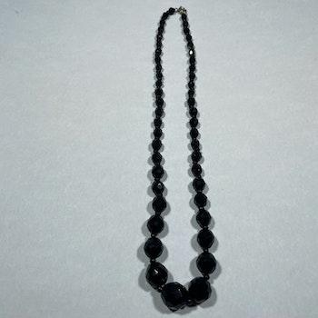 Vintage halsband, glaskulor - Svart