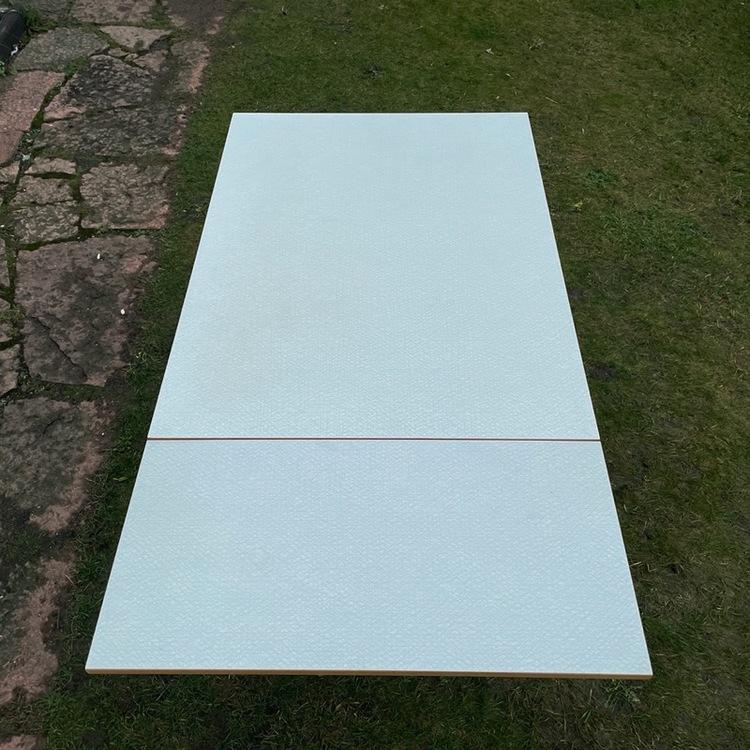 Köksbord utfällbart - Perstorpsskiva, ljusgrå utfällt topvy