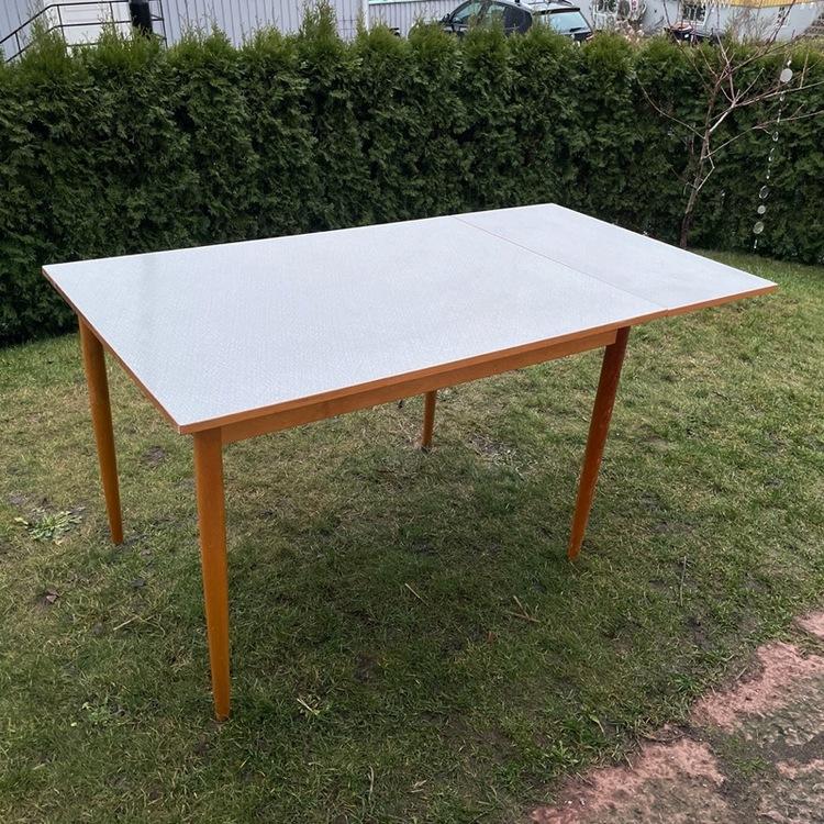 Köksbord utfällbart - Perstorpsskiva, ljusgrå utfällt sidan