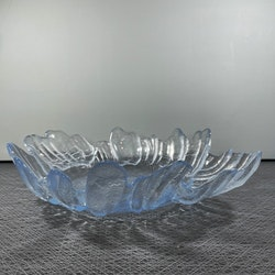 Glasfat, Barock, blått glas (stort) - Christer Sjögren - Lindshammar Glasbruk