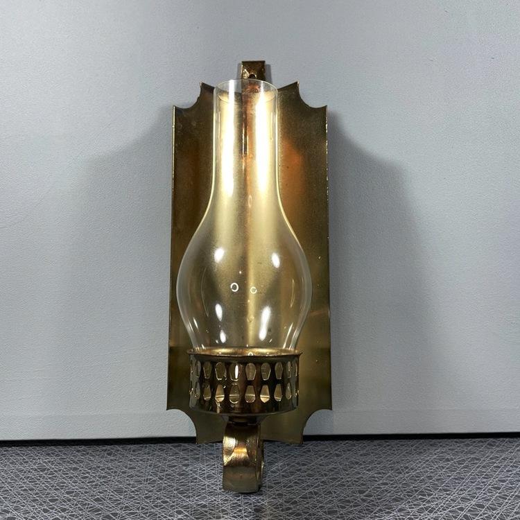 Vägglampett, mässing/glas