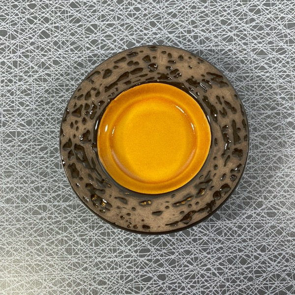 Liten skål/ ljusfat gul - Uppsala Ekeby