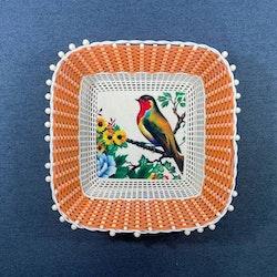 Retro brödbricka/ korg med fågel