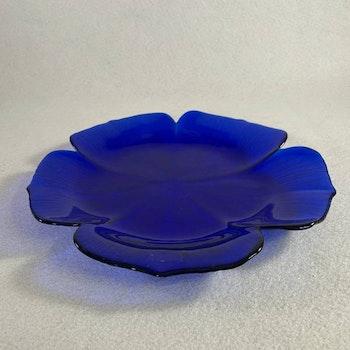 Stort blått glasfat - Japan