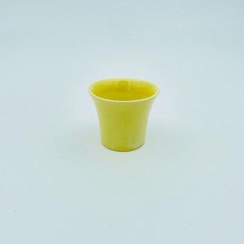 Retro äggkopp - gul keramik