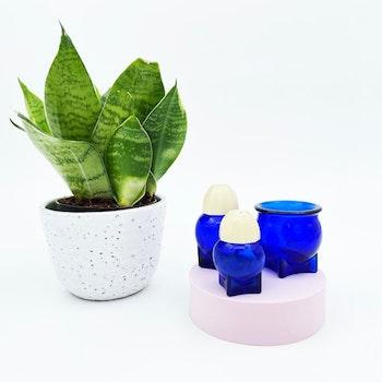 Salt, peppar och tandpetarskål - Blått glas