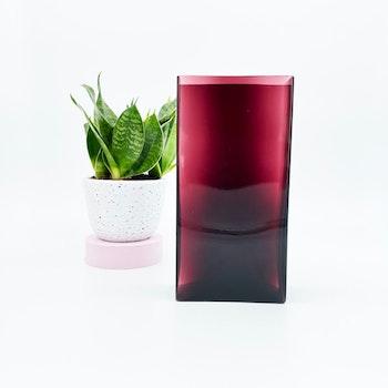 Fyrkantig retro handblåst vas