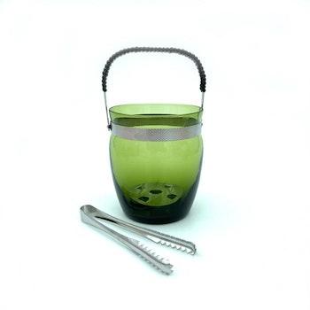 Ishink med tång - grönt glas med lindat handtag