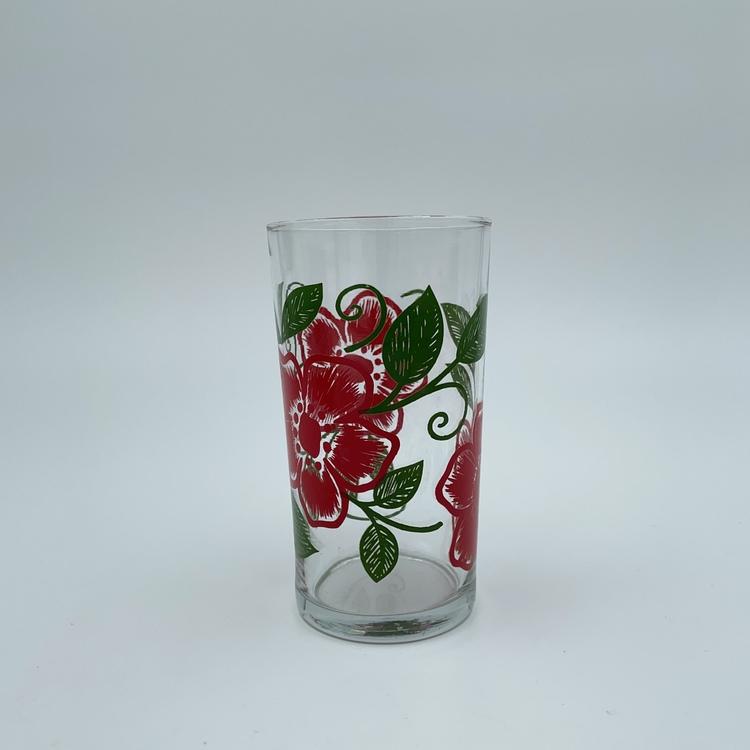 Saftglas - röda blommor
