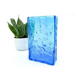 Glasvas - Blå, fyrkantig med struktur