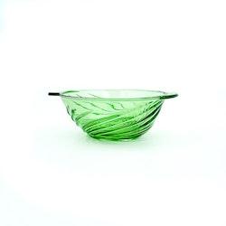 Grön glasskål - virvelmönster