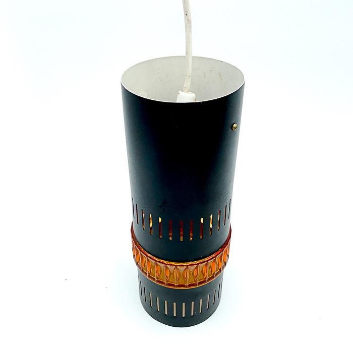 Taklampa, svart - plåt/glas