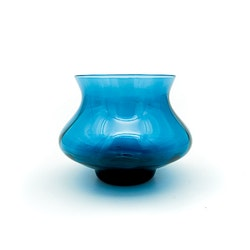 Ljuslykta / vas (blå), Bo Borgström - Åseda Glasbruk