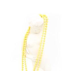 Retro halsband med plastpärlor gult