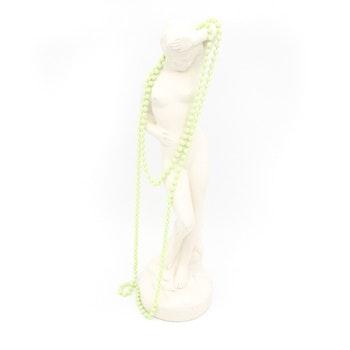 Retro halsband med plastpärlor limegrönt/gult