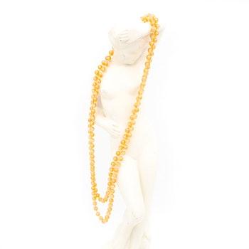 Retro halsband med plastpärlor orange