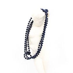 Retro halsband med plastpärlor mörkt blå