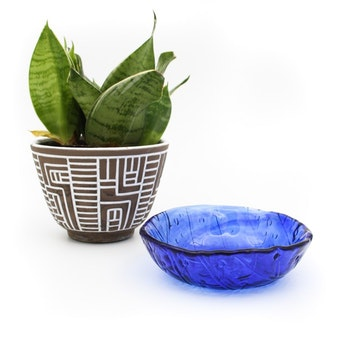 Blå mönstrad glasskål
