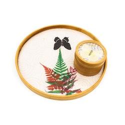 Glasunderlägg och bricka i bambu med fjärilar