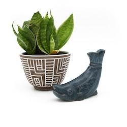 Blå keramikval - Irma Yourstone, Uppsala Ekeby
