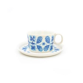 Kaffekopp med fat - Melamin, Blues, Stig Lindberg