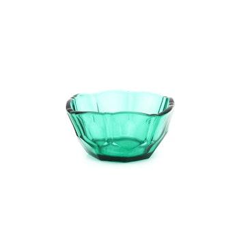 Grön retro glasskål - pressglas