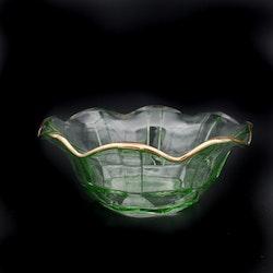 Glassklål med guldkant - Uranglas