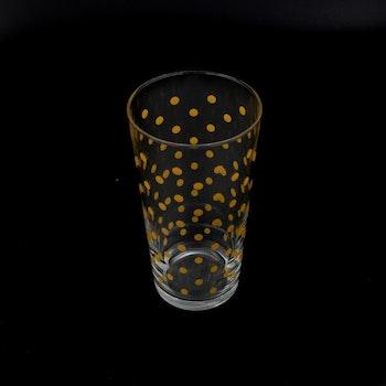 Retro saftglas - gula prickar
