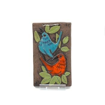 Keramiktavla med fåglar - Ninnie Forsgren, Bromma keramik