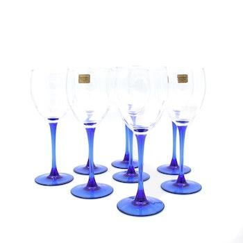 """Rödvinsglas """"Cobalt"""", blå fot - Luminarc, Frankrike"""