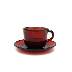 Kaffekopp - rött glas, Vereco