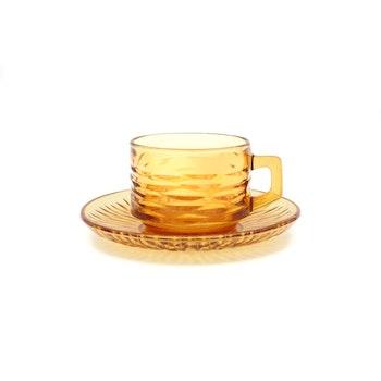 Kaffekopp - Bärnstensglas, Vereco, Frankrike