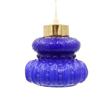 Retro fönsterlampa - blått glas