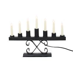 Elektrisk adventsljusstake, svart metall / bakelit