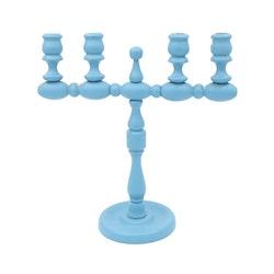 Blå kulljusstake för fyra antikljus
