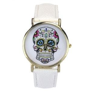 Klocka Skull Vit