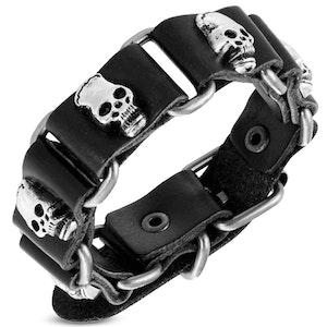 Armband Skull Läder