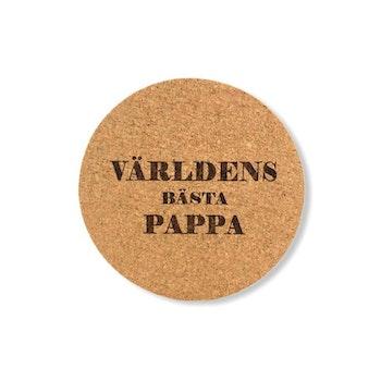 GLASUNDERLÄGG KORK VÄRLDENS BÄSTA PAPPA 4ST