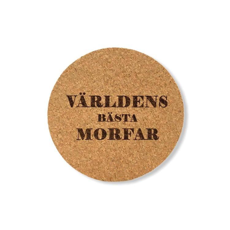 GLASUNDERLÄGG KORK VÄRLDENS BÄSTA MORFAR 4ST
